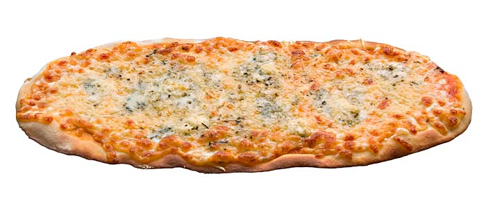 Pizza 4 formatges ovalada